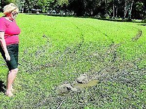 Hoons destroy footy field