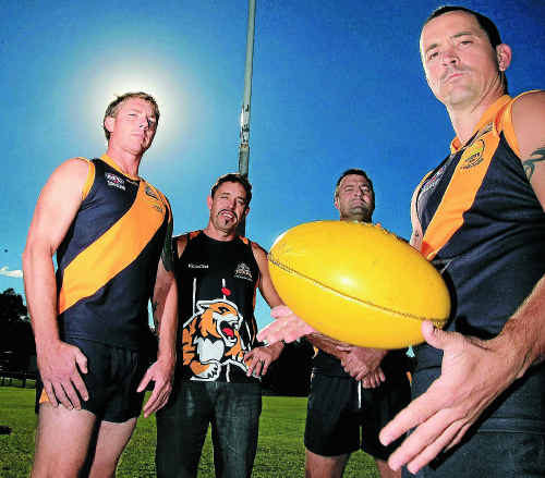 Tweed Coast Tigers players Anthony Pope, Shayne Shallie, John Cassidy and Ben Kelly are keen to continue their dominance over the Swans.