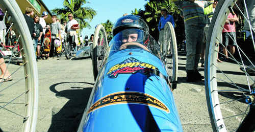 Jarrod Middleton lines up in his age group on the starting line for the Bangalow billycart derby.