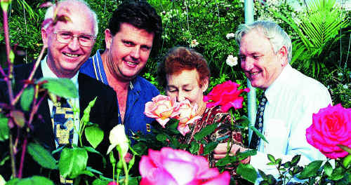 Jim McRae (left) pictured with Dominic Doblo, Joan Bean and Bruce Slattery in 1998, was a champion gardener, one of the great traits for which he will be remembered.