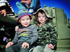 Taking a ride on the Matilda tank at the Emu Gully Air and Land Spectacular are Riley Hosking (left) and Ethan James.
