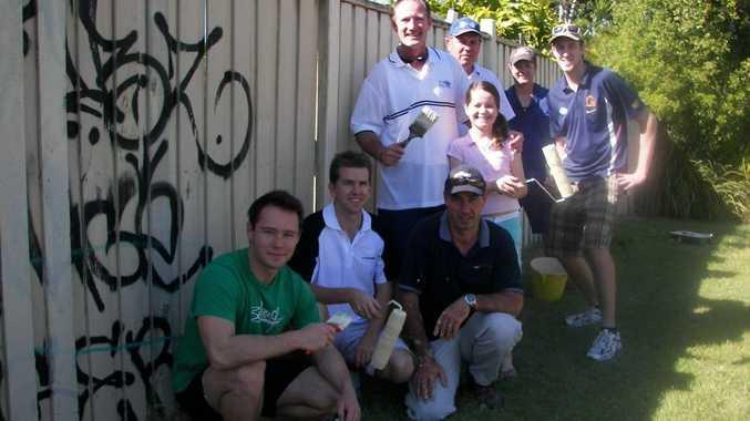 Member for Kawana Jarrod Bleijie with Cr Christian Dickson, Graeme Hall, Member for Buderim Steve Dickson, Cheyenne Lyons, David Holman, SDDCA President Murray Lyons and Nathan Ruhle paint over graffiti.
