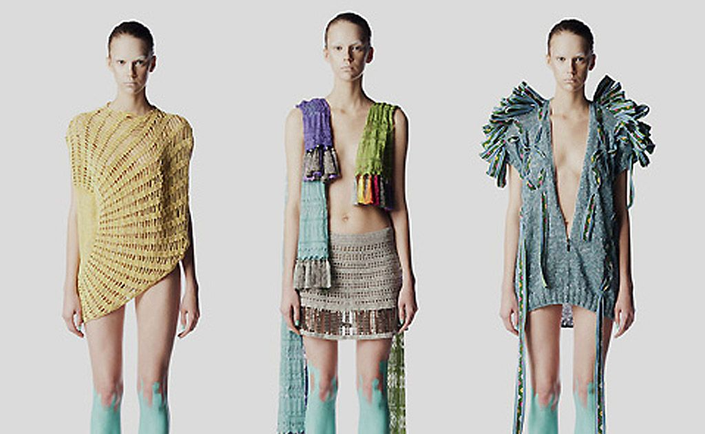 Asymmetrical styling and futuristic feels are part of Laura Thiess' 2011 collection.