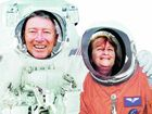 LOST IN SPACE: Peter Carey and Bridget Edwards pose as astronauts at the Kennedy Space Centre.