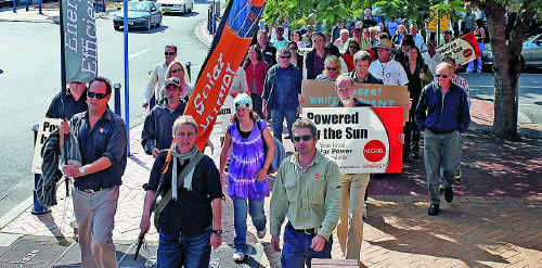 Solar enthusiasts take to the streets of Lismore on Wednesday.