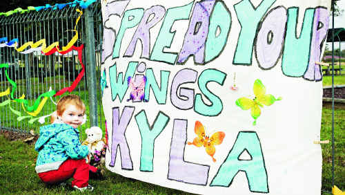 Michael Bodley-Marsh, aged two, at the vigil for Kyla Rogers at Crawford Park in Casino.
