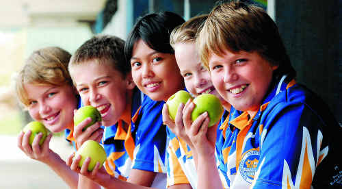 Fitzgerald State School students Paige Balcin, Ryan Villalba, Sophia Valdez, Lael Allinson and Ashley Burgess are totally behind the Let's Live Better campaign, which could give them a new tuckshop.