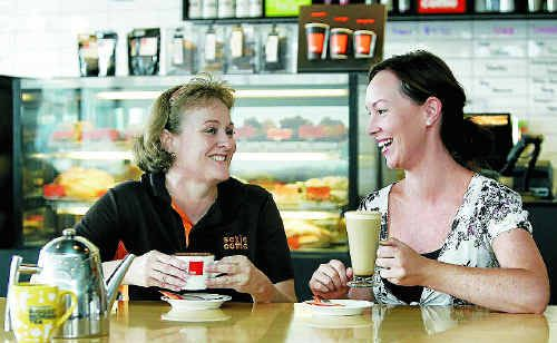 Sexie Coffie manager Sandra Berry (left) and Casandra Kunst of the Cancer Council Qld will have a brew ready to promote Australia's Biggest Morning Tea on Thursday.