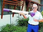 Senior Constable Frank Lawler displays the cannon made from PVC pipe.