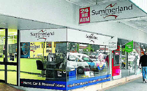 The Casino branch of the Summerland Credit Union in Walker Street which was held up by a knife-wielding robber yesterday who escaped with an undisclosed amount of money.