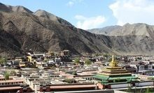 Xiahe's existence is largely dependent on the Labrang Monastery (with the yellow hat roof).