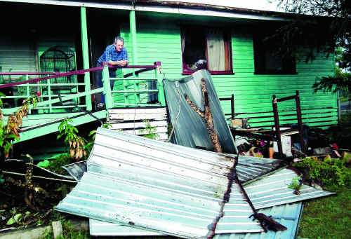 WILD WIND BLOWS: Maryborough grandfather Bob McFie woke yesterday morning to find his garden shed collapsed.