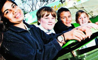 Ballina Public School captains (from left) Dominique Isaac, Jack Howe, George Johnson and Taylor Tramby with Ballina Mayor Phillip Silver at the launch of the Green House Show to introduce the Ballina Shire's new organic-garden bins.