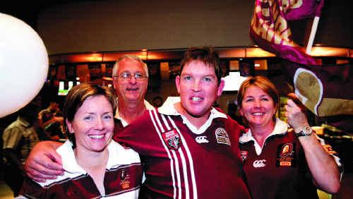 Rhiann Zirbel, Terry Ryan, Matthew McNeill and Tracey McNeill cheered on Queensland during celebrations at Harrup Park.