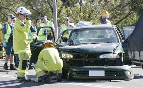 A three-car smash on the Fitzroy River Bridge caused traffic delays today.