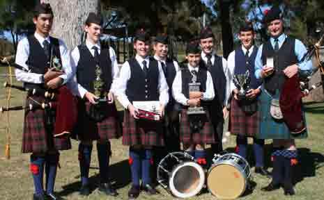 Pipe Band members success: Malcolm McKellar, Kirby Douglas, Rylie Douglas, Grace Peterson, Jacob Chalk, Stuart Kemsley, Dominic Anderson-Strudwick and Robert Gibb.