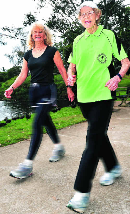 Veronica Fischer (right) and Joan Darlington put in the hard yards ahead of taking part in the Gold Coast half marathon.