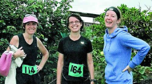 Karen Baker, Jane Hebdon and Shannan Ralph enjoyed the run in the rain.