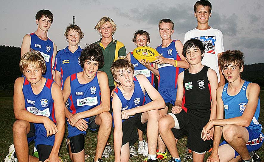 GETTING READY: The Whitsunday contingent in the under-14 Mackay Crows side were put through their paces at the Whitsunday Sports Park last Wednesday night ahead of their State-wide carnival next month. Back: Ben Spencer, Rhys Fuhrmann, Jared Booth, Jacob Healey and Jack McCarthy. Front: Kerr Claxton, Eli Gunders, Jonty Hinschen, Lachlan Ward and Tory Pendrey.