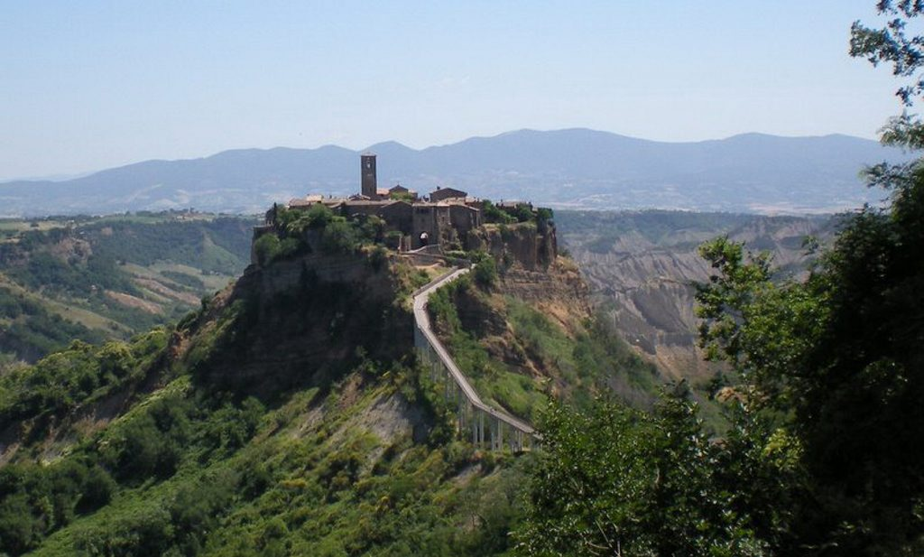 Civita di Bagnoregio is separated from the rest of the region by a long walkway.