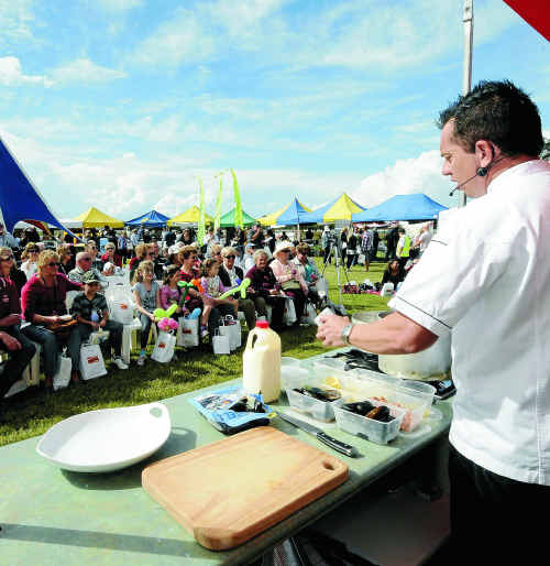 Adam Smith from Fleurs Restaurant in Ballina gives a cooking demonstration.