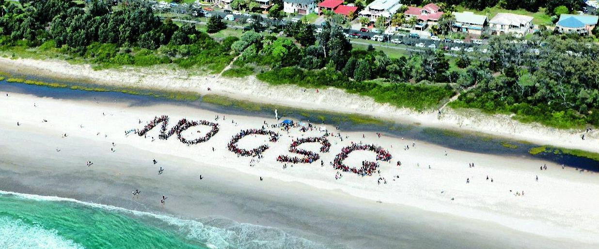 More than 1500 protesters packed Byron Bay's Main Beach yesterday forming a 'NO CSG' slogan on the sand to protest against coal seam gas mining in the region.