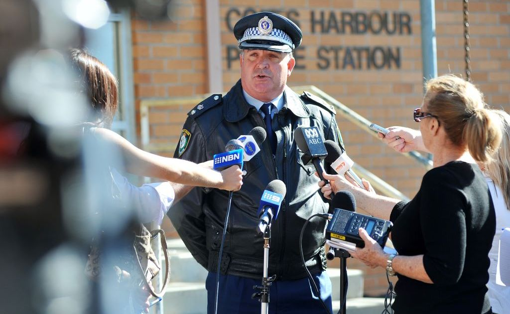 Coffs Clarence Local Area Commander Superintendent Mark Holahan briefs the media.