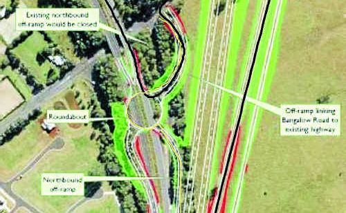 A map showing the RTA's plans for a controversial interchange on the new Pacific Highway upgrade at Bangalow.