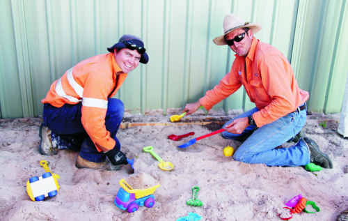 The Silver Spike boys had a fun time rebuilding the sandpit at the Yumba Bimbi Respite Service on Monday.