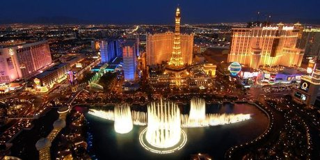 The Las Vegas Strip seen from the Bellagio Casino/Resort Bell tower.