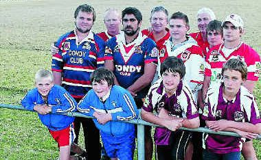 (Front, from left) Mitch Watson, Hayden Aspinall (both Collegians), Brent Walker, Liam Ezzy (both Eastern Suburbs), (second row) Joe McIvor, John Trindall, Regan McNicol, Tyson McNicol, Hayden McNicol, (back) Dragons fans George McVeigh, Mal Hooke and Dave Carr are getting ready for the Dragons' visit to Warwick on June 18.