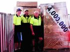 Doug Macbeth, Wayne Macbeth and Brent Lenehan send off the 4 millionth pallet.
