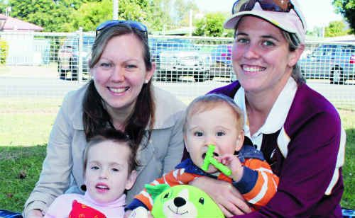 Speech pathologist Amber Wakeham, Kate Parry, Emma Barnard and Andy Parry were all on the hunt for teddies.