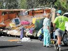 The aftermath of a highway crash south of Woolgoolga, in which a caravan was torn in half. FRANK REDWARD.