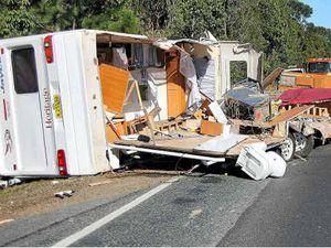 Caravan and 4WD collide