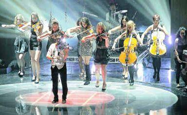 Heidi Chappelow (violinist far left ) performing in Deep Blue on Australia's Got Talent last week.