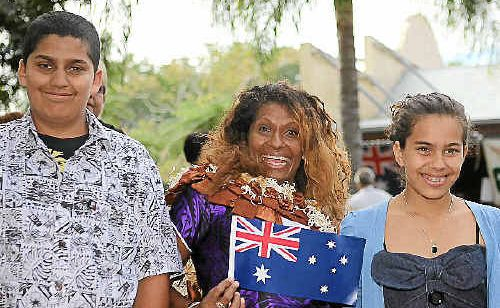 James Robert Wells and Jamie Mae Wells were at the Australian citizenship ceremony supporting their mother, Asenaca Wells, at the Multicultural Fair at the Rockhampton Heritage Village.