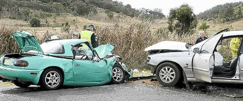 Two cars collided along the Clifton-Gatton Rd yesterday.