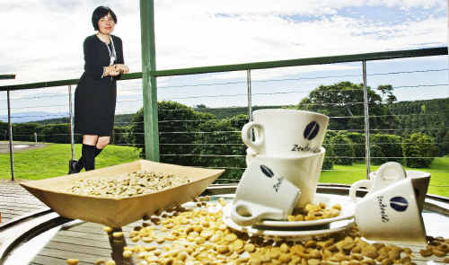 Rebecca Zentveld, of Zentveld's coffee in Byron Bay, is hoping that dryer weather will enable tractors to get out for harvesting.