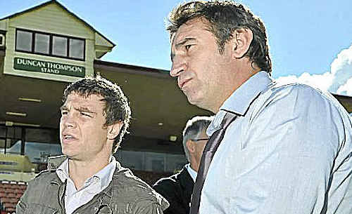 Michael Katsidis (left) and trainer-manager Brendon Smith checked out the facilities at Clive Berghofer Stadium last week.