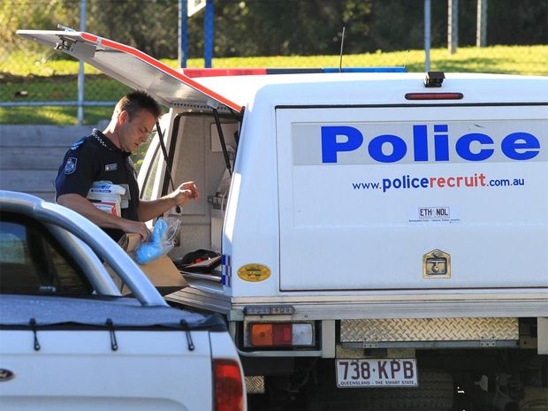 Police on the scene of an armed robbery at Kirra Sports Club.