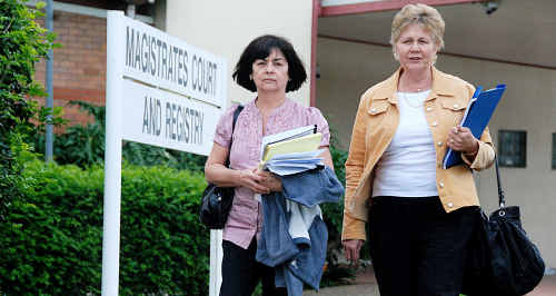 Marion Purdy and Kathy Whitmore leave Gympie Magistrates Court after the conclusion of the inquest into three separate crashes within a 15km stretch of the Bruce Hwy. Rachel Purdy, Cory Whitmore and their unborn baby were victims of another driver's error.