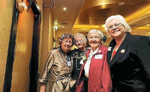 Celebrating the 60th anniversary of the Lismore War Widows Guild Club yesterday at the Lismore Workers Club are (from left) local members Emily McNamara and Ada Baker, Lismore president Olive Smith and NSW guild president Anne Bonner.