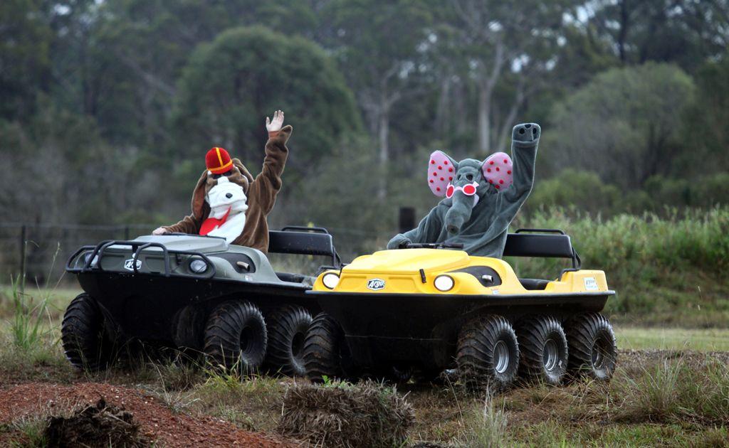 Banana Splits do demonstrations on Argo ATV at Farm Fantastic.