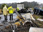 The scene of the horrific triple fatality on the Bruce Hwy in 2008 that killed truck driver Mark Hamilton and Rachel Purdy and Cory Whitmore as well as their unborn baby.
