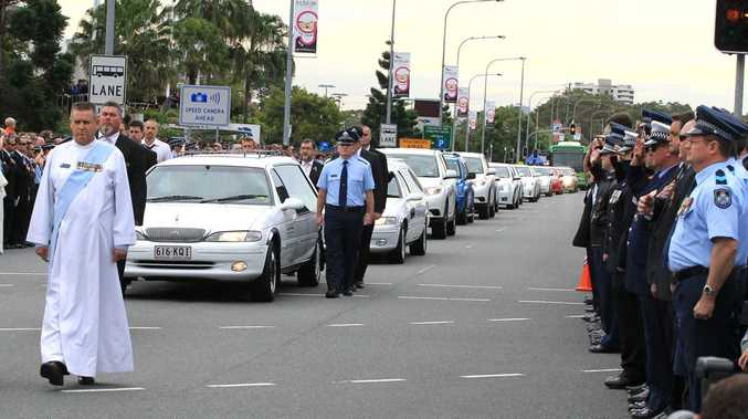 The funeral procession for Detective Senior Constable Damian Leeding.