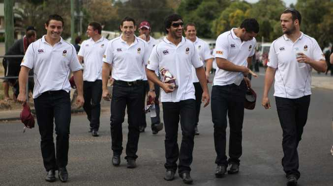 The Queensland State of Origin team as they stepped off the team bus in Emerald yesterday.