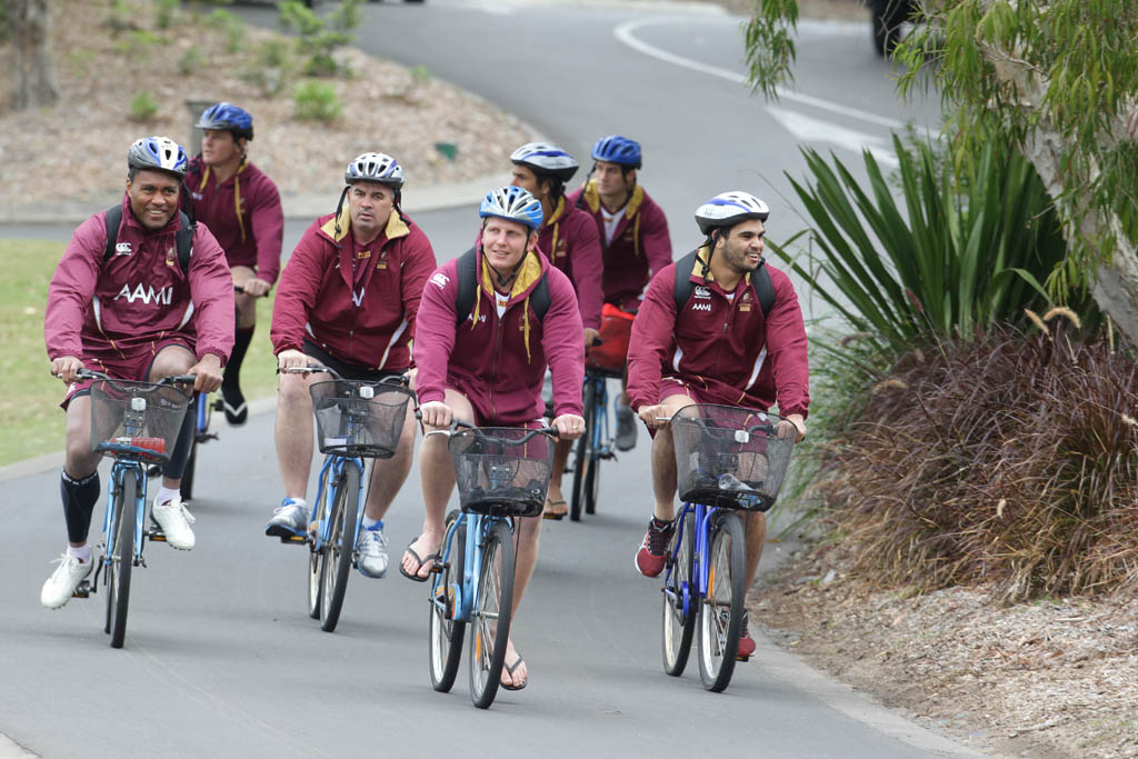 Queensland State of Origin team training at the Coolum Hyatt.