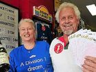 Noosa Junction Newsagency Owners Kaye and Ken Anderson celebrate as they sell a Division 1 winning ticket.