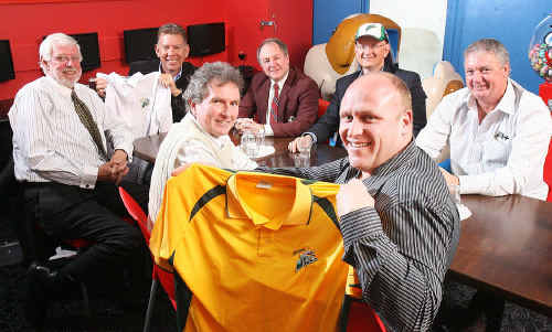 (From left) Arthur Needham, Wayne Wendt, David Morrison, John Bell Shayne Neumann and Justin Hall (front) met yesterday to discuss the Ipswich Jets expansion plans as a sporting organisation, while showing off the club's new cricket playing strips.